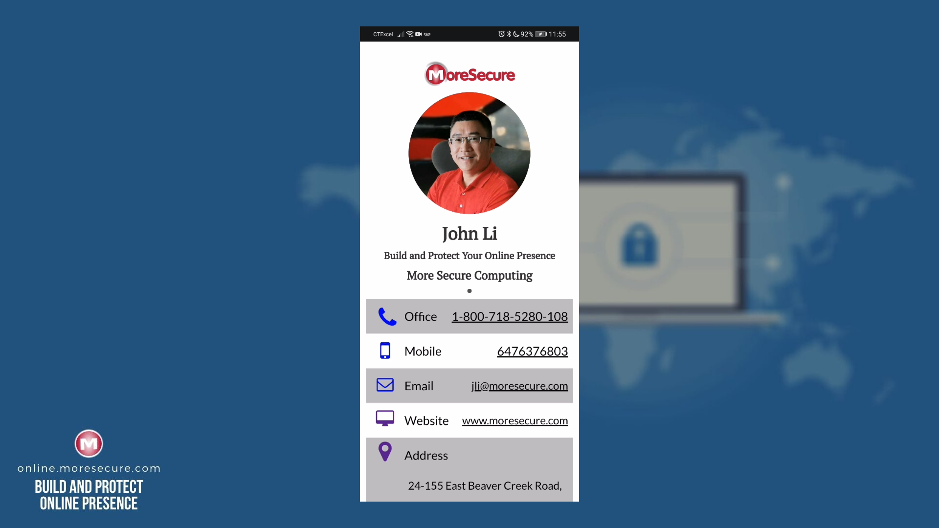 FREE More Secure Online Digital Business Card Template